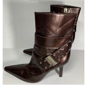 BCBG Pointed Metallic Bronze Pointed Toe Boots